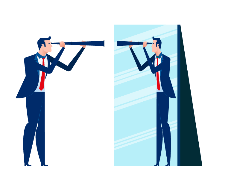 Man in blue suit looking at his reflection in a mirror through a telescope