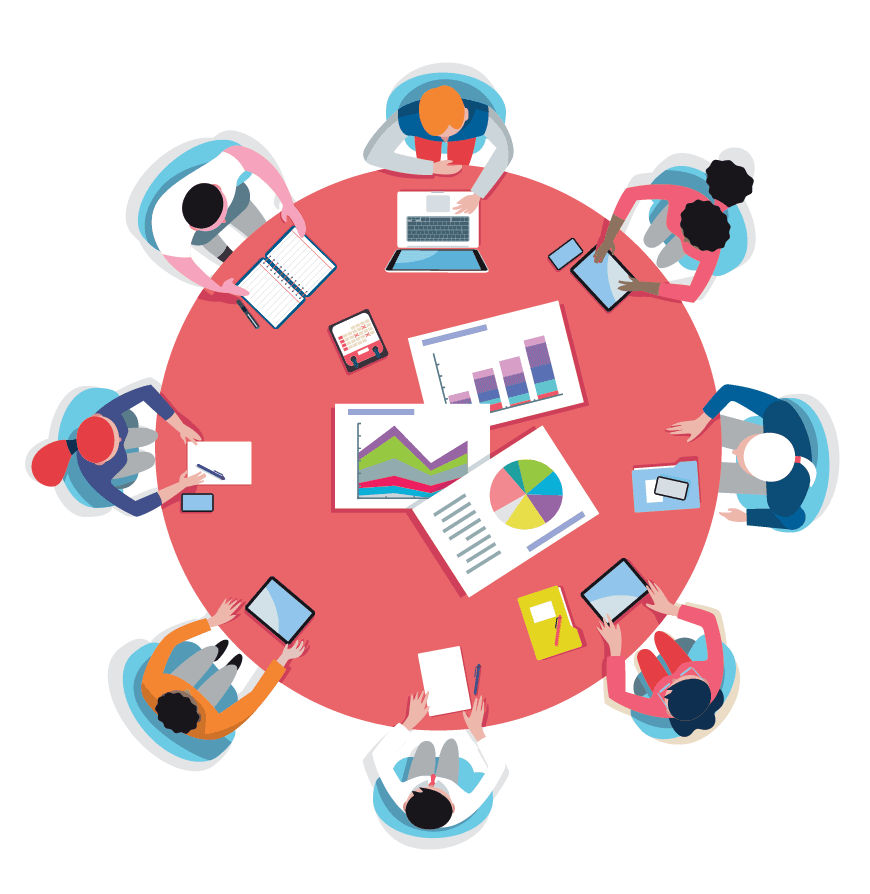 Top View Business Meeting Around Circular Table